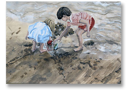 children playing a beach - Painting by Jill Fellows