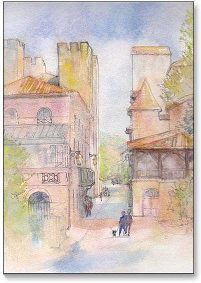 Moulin d'Henri IV - Watercolour and pen by Jill Fellows, painting tutor giving workshops in France