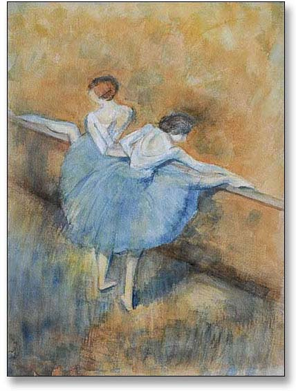 Watercolour painting of ballet dancers by Jill Fellows at Painting Photography France