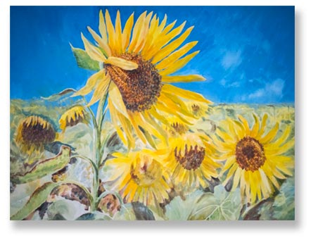 painting of sunflowers from southwest France painting vacation